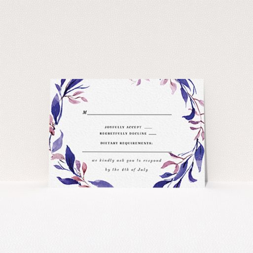 """A wedding rsvp card called """"Hues of Blue"""". It is an A7 card in a landscape orientation. """"Hues of Blue"""" is available as a flat card, with tones of white and deep blue."""