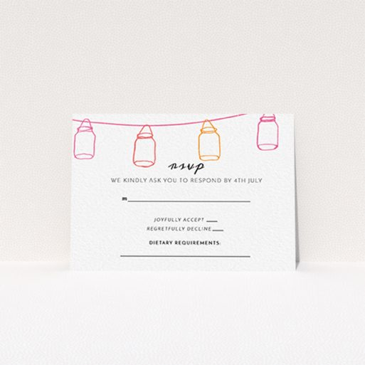 """A wedding rsvp card called """"In a jar"""". It is an A7 card in a landscape orientation. """"In a jar"""" is available as a flat card, with tones of white, orange and pink."""
