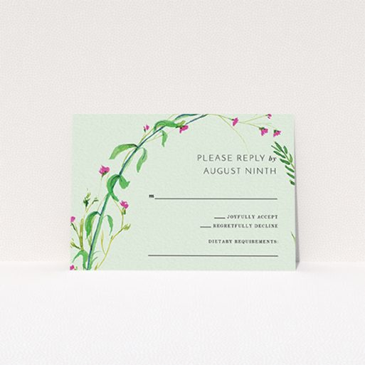 """A wedding rsvp card named """"Jungle collection"""". It is an A7 card in a landscape orientation. """"Jungle collection"""" is available as a flat card, with mainly green colouring."""