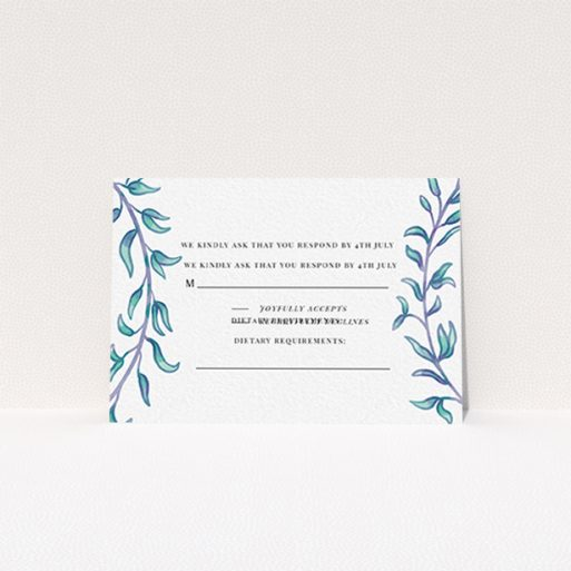 """A wedding rsvp card named """"Marine Wreath"""". It is an A7 card in a landscape orientation. """"Marine Wreath"""" is available as a flat card, with tones of blue and green."""