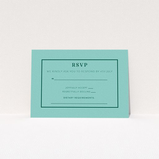 """A wedding rsvp card named """"Olive branch stamp"""". It is an A7 card in a landscape orientation. """"Olive branch stamp"""" is available as a flat card, with mainly green colouring."""