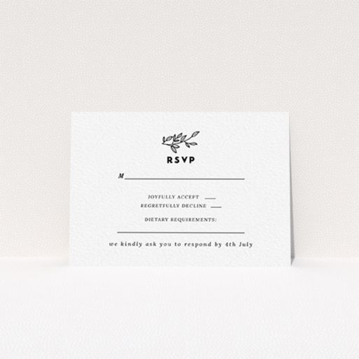 """A wedding rsvp card called """"Simple Wreath"""". It is an A7 card in a landscape orientation. """"Simple Wreath"""" is available as a flat card, with tones of black and white."""