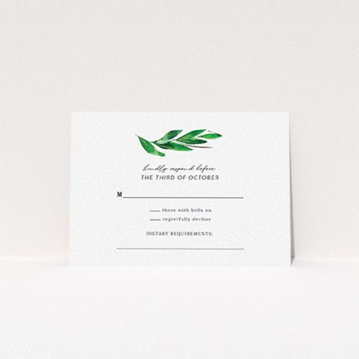 """A wedding rsvp card template titled """"Summer Whirl Wreath"""". It is an A7 card in a landscape orientation. """"Summer Whirl Wreath"""" is available as a flat card, with tones of green and white."""