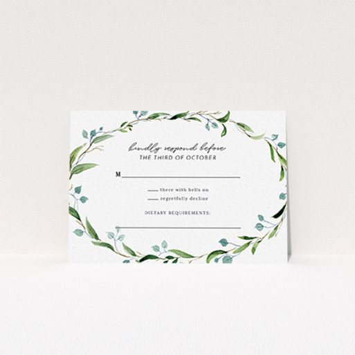 """A wedding rsvp card named """"Thin Watercolour Wreath"""". It is an A7 card in a landscape orientation. """"Thin Watercolour Wreath"""" is available as a flat card, with tones of blue and green."""