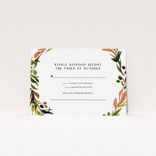 """A wedding rsvp card design named """"Watercolour Olive Wreath"""". It is an A7 card in a landscape orientation. """"Watercolour Olive Wreath"""" is available as a flat card, with tones of green, dark green and terracotta."""