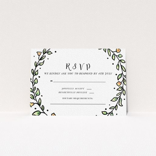 """A wedding rsvp card design called """"Wreath Outline"""". It is an A7 card in a landscape orientation. """"Wreath Outline"""" is available as a flat card, with tones of green, red and yellow."""