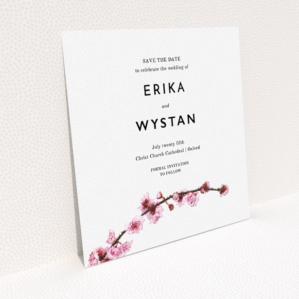 """A wedding save the date called """"A side of Blossom"""". It is a square (148mm x 148mm) save the date in a square orientation. """"A side of Blossom"""" is available as a flat save the date, with tones of pink and brown."""