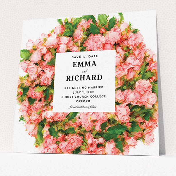 """A wedding save the date design titled """"Acrylic Wreath"""". It is a square (148mm x 148mm) save the date in a square orientation. """"Acrylic Wreath"""" is available as a flat save the date, with tones of pink, green and white."""