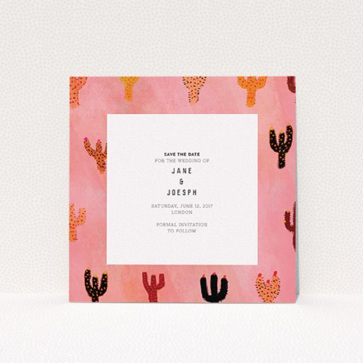 """A wedding save the date template titled """"Albuquerque"""". It is a square (148mm x 148mm) save the date in a square orientation. """"Albuquerque"""" is available as a flat save the date, with tones of pink, orange and brown."""