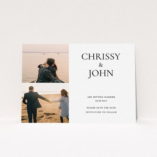 """A wedding save the date named """"Almost a quarter"""". It is an A5 save the date in a landscape orientation. It is a photographic wedding save the date with room for 2 photos. """"Almost a quarter"""" is available as a flat save the date, with mainly white colouring."""