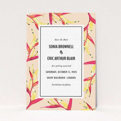"""A wedding save the date called """"Birds of paradise"""". It is an A6 save the date in a portrait orientation. """"Birds of paradise"""" is available as a flat save the date, with tones of dark cream and red."""