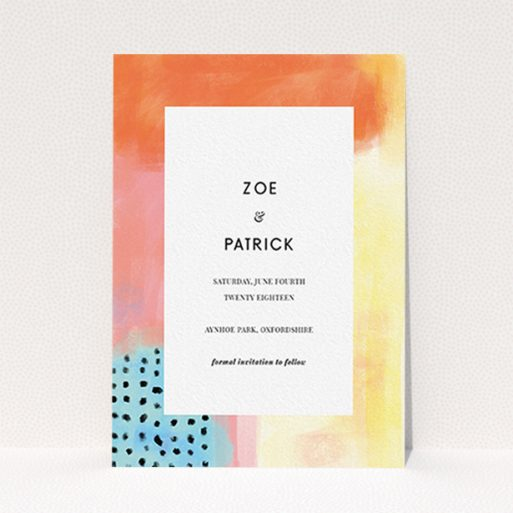 """A wedding save the date card called """"Abstract Colours"""". It is an A6 card in a portrait orientation. """"Abstract Colours"""" is available as a flat card, with tones of orange, red and yellow."""