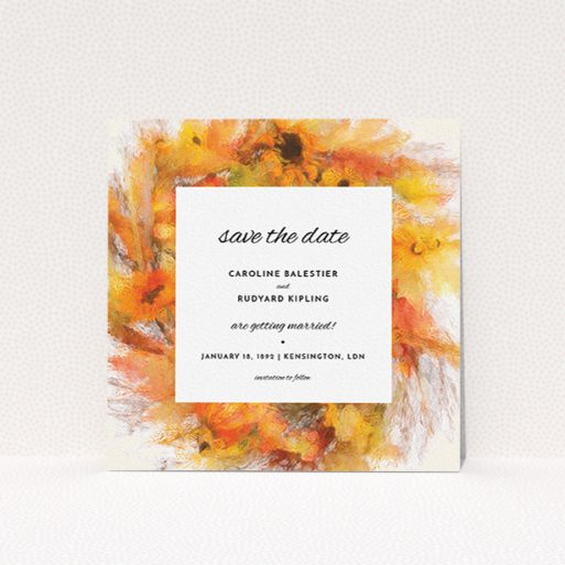 """A wedding save the date card template titled """"Autumn wreath """". It is a square (148mm x 148mm) card in a square orientation. """"Autumn wreath """" is available as a flat card, with tones of orange and yellow."""