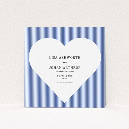 """A wedding save the date card called """"Between the Lines"""". It is a square (148mm x 148mm) card in a square orientation. """"Between the Lines"""" is available as a flat card, with tones of blue and white."""