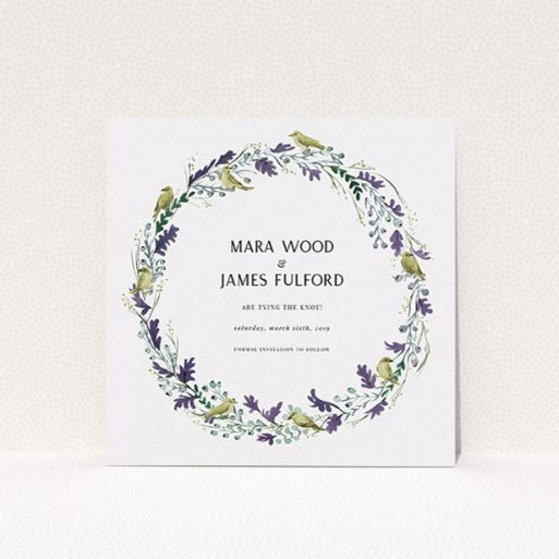 """A wedding save the date card design titled """"Birdsong"""". It is a square (148mm x 148mm) card in a square orientation. """"Birdsong"""" is available as a flat card, with tones of off-white and dark green."""
