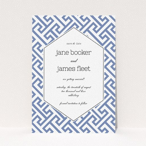 """A wedding save the date card design called """"Blue and white maze"""". It is an A6 card in a portrait orientation. """"Blue and white maze"""" is available as a flat card, with tones of blue and white."""