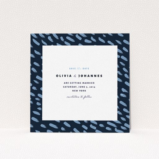 """A wedding save the date card template titled """"Blue strokes"""". It is a square (148mm x 148mm) card in a square orientation. """"Blue strokes"""" is available as a flat card, with tones of blue and white."""