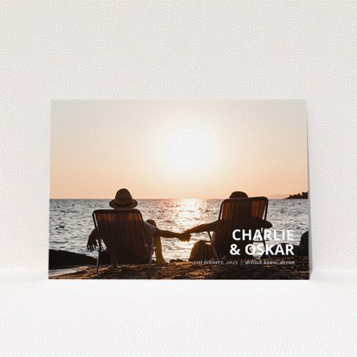 """A wedding save the date card design titled """"Bold Corner Photo"""". It is an A5 card in a landscape orientation. It is a photographic wedding save the date card with room for 1 photo. """"Bold Corner Photo"""" is available as a flat card, with mainly white colouring."""