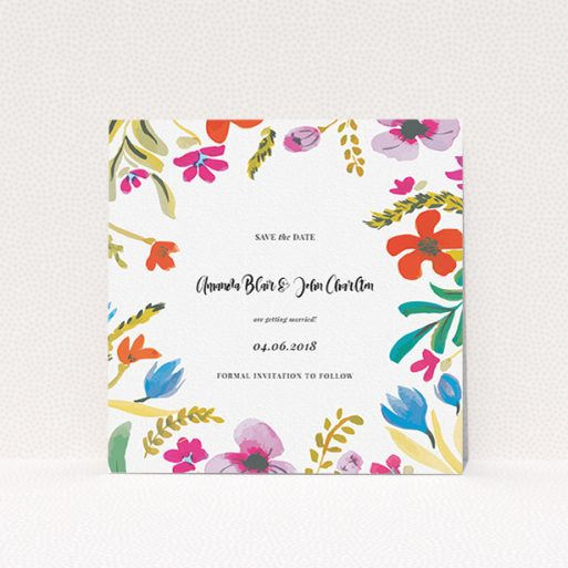"""A wedding save the date card named """"Botanical Pop"""". It is a square (148mm x 148mm) card in a square orientation. """"Botanical Pop"""" is available as a flat card, with tones of white and red."""
