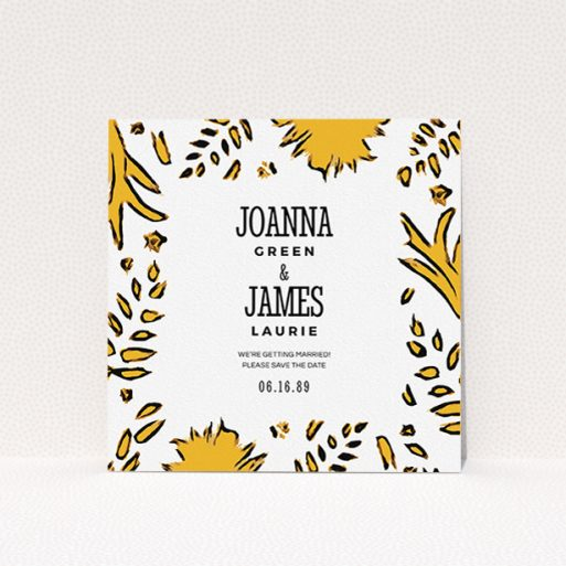 """A wedding save the date card design named """"Botanical tiger"""". It is a square (148mm x 148mm) card in a square orientation. """"Botanical tiger"""" is available as a flat card, with mainly orange colouring."""