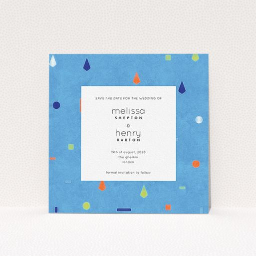 """A wedding save the date card design called """"Capri"""". It is a square (148mm x 148mm) card in a square orientation. """"Capri"""" is available as a flat card, with tones of light blue and orange."""