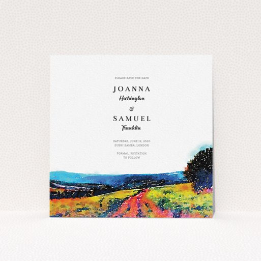"""A wedding save the date card template titled """"Country Road"""". It is a square (148mm x 148mm) card in a square orientation. """"Country Road"""" is available as a flat card, with tones of white, orange and light blue."""