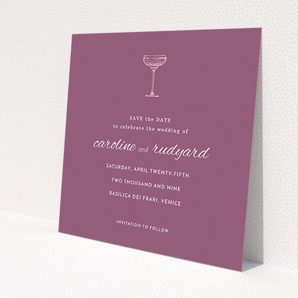 """A wedding save the date card design called """"Coupe"""". It is a square (148mm x 148mm) card in a square orientation. """"Coupe"""" is available as a flat card, with tones of burgundy and white."""