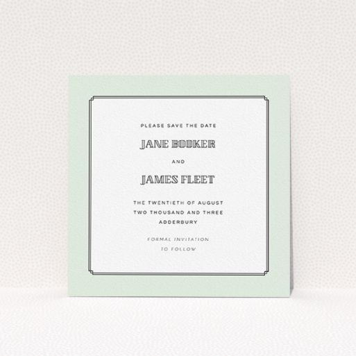 """A wedding save the date card design called """"Deco mint"""". It is a square (148mm x 148mm) card in a square orientation. """"Deco mint"""" is available as a flat card, with tones of green and white."""