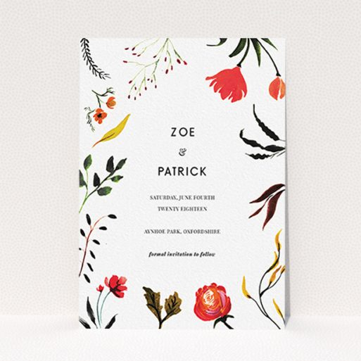 """A wedding save the date card design named """"Elemental Flowers"""". It is an A6 card in a portrait orientation. """"Elemental Flowers"""" is available as a flat card, with tones of white, green and red."""