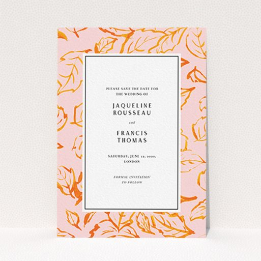 """A wedding save the date card template titled """"Falling Foliage"""". It is an A6 card in a portrait orientation. """"Falling Foliage"""" is available as a flat card, with tones of pink and orange."""