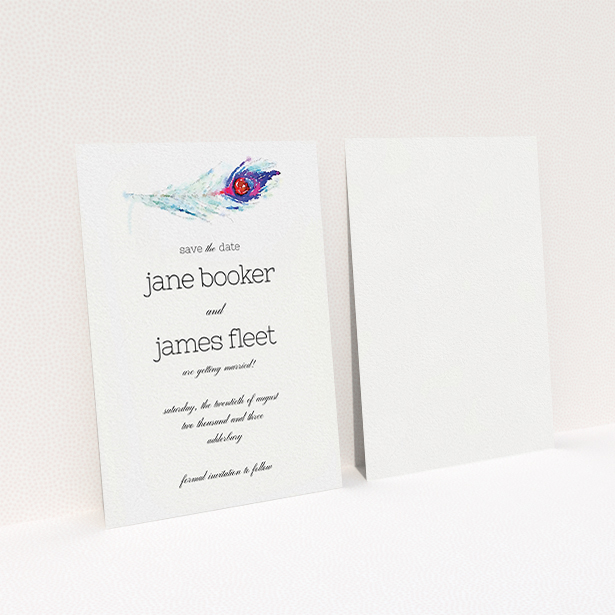 """A wedding save the date card design titled """"Feather in the corner"""". It is an A6 card in a portrait orientation. """"Feather in the corner"""" is available as a flat card, with mainly white colouring."""