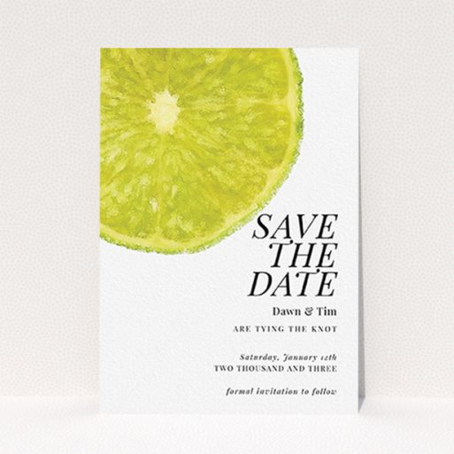 """A wedding save the date card design called """"Fresh lime"""". It is an A6 card in a portrait orientation. """"Fresh lime"""" is available as a flat card, with tones of green and white."""