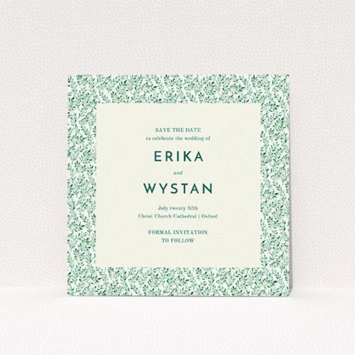 """A wedding save the date card design named """"From the hedge"""". It is a square (148mm x 148mm) card in a square orientation. """"From the hedge"""" is available as a flat card, with mainly green colouring."""