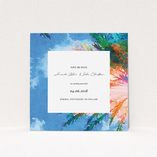 """A wedding save the date card design titled """"From the Sunbed"""". It is a square (148mm x 148mm) card in a square orientation. """"From the Sunbed"""" is available as a flat card, with tones of sky blue and green."""