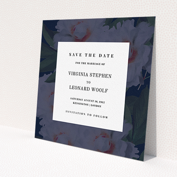 """A wedding save the date card template titled """"Garden at night"""". It is a square (148mm x 148mm) card in a square orientation. """"Garden at night"""" is available as a flat card, with mainly navy blue colouring."""