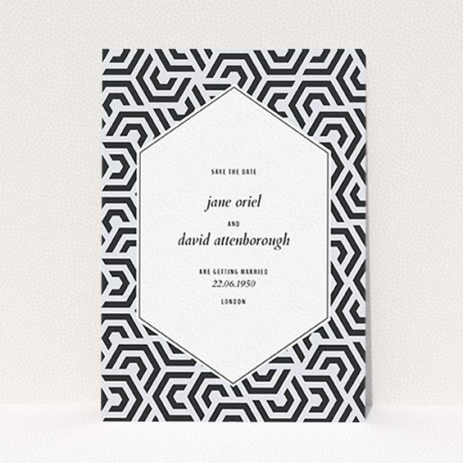 """A wedding save the date card called """"Geometric corners"""". It is an A6 card in a portrait orientation. """"Geometric corners"""" is available as a flat card, with mainly blue colouring."""