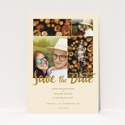 """A wedding save the date card named """"Gold Fountain Pen Typography"""". It is an A5 card in a portrait orientation. It is a photographic wedding save the date card with room for 3 photos. """"Gold Fountain Pen Typography"""" is available as a flat card, with tones of cream and dark gold."""