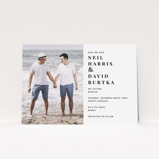 """A wedding save the date card called """"Half full"""". It is an A5 card in a landscape orientation. It is a photographic wedding save the date card with room for 1 photo. """"Half full"""" is available as a flat card, with mainly white colouring."""