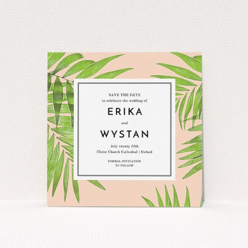 """A wedding save the date card called """"In the courtyard"""". It is a square (148mm x 148mm) card in a square orientation. """"In the courtyard"""" is available as a flat card, with tones of green and pink."""