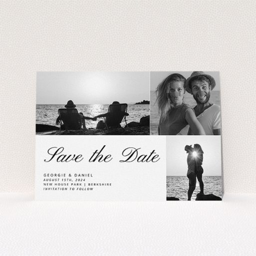 """A wedding save the date card design named """"Italicised"""". It is an A5 card in a landscape orientation. It is a photographic wedding save the date card with room for 3 photos. """"Italicised"""" is available as a flat card, with mainly white colouring."""