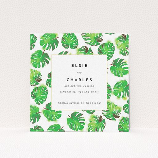 """A wedding save the date card template titled """"Jungle Sky"""". It is a square (148mm x 148mm) card in a square orientation. """"Jungle Sky"""" is available as a flat card, with tones of green and white."""