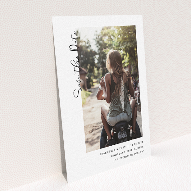 """A wedding save the date card design named """"Koh Tao"""". It is an A5 card in a portrait orientation. It is a photographic wedding save the date card with room for 1 photo. """"Koh Tao"""" is available as a flat card, with mainly white colouring."""