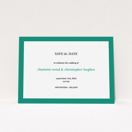 """A wedding save the date card called """"Laydown simple"""". It is an A6 card in a landscape orientation. """"Laydown simple"""" is available as a flat card, with tones of green and white."""