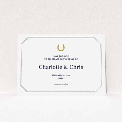 """A wedding save the date card named """"Lucky horse shoe"""". It is an A6 card in a landscape orientation. """"Lucky horse shoe"""" is available as a flat card, with tones of white and grey."""