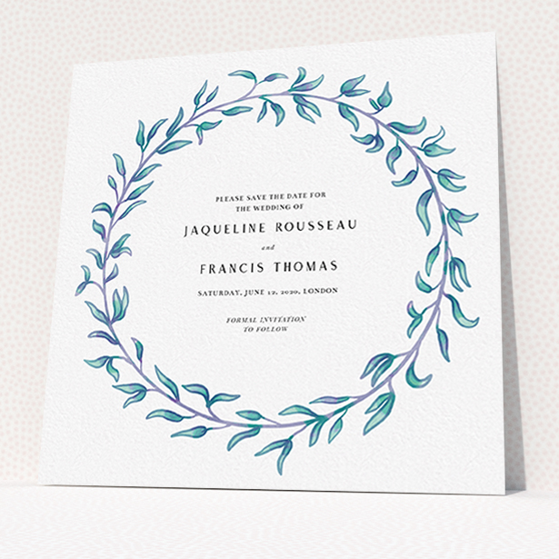 """A wedding save the date card named """"Marine Wreath"""". It is a square (148mm x 148mm) card in a square orientation. """"Marine Wreath"""" is available as a flat card, with tones of blue and green."""