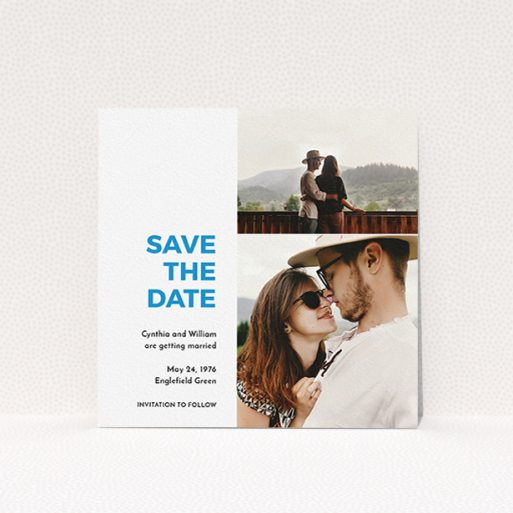 """A wedding save the date card named """"Me plus you"""". It is a square (148mm x 148mm) card in a square orientation. It is a photographic wedding save the date card with room for 2 photos. """"Me plus you"""" is available as a flat card, with tones of white and blue."""