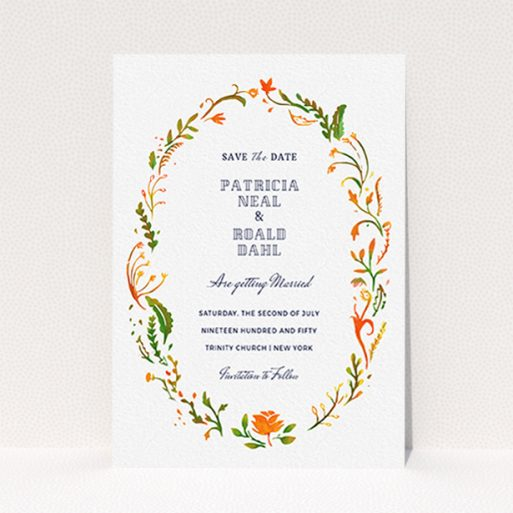 """A wedding save the date card named """"Midsummer Wreath"""". It is an A6 card in a portrait orientation. """"Midsummer Wreath"""" is available as a flat card, with tones of orange, green and yellow."""