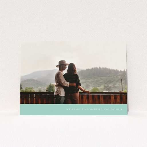 """A wedding save the date card called """"Mint Bottom Simple"""". It is an A5 card in a landscape orientation. It is a photographic wedding save the date card with room for 1 photo. """"Mint Bottom Simple"""" is available as a flat card, with tones of green and white."""