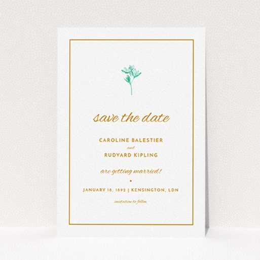 """A wedding save the date card design titled """"My little daisy"""". It is an A6 card in a portrait orientation. """"My little daisy"""" is available as a flat card, with tones of white and green."""