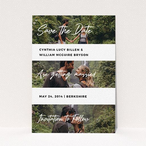 """A wedding save the date card design called """"Newsreel"""". It is an A6 card in a portrait orientation. It is a photographic wedding save the date card with room for 3 photos. """"Newsreel"""" is available as a flat card, with mainly white colouring."""
